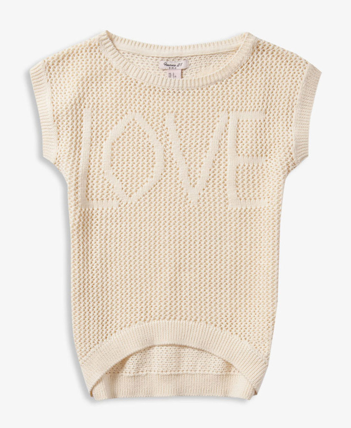 Forever 21 girls Open Knit Love Sweater