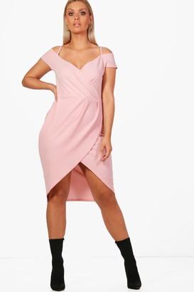 boohoo Plus Open Shoulder Wrap Bodycon Dress