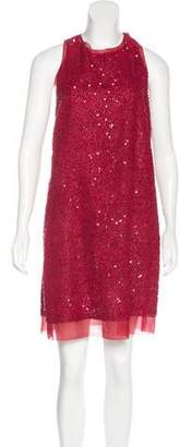 Lela Rose Silk-Trimmed Embellished Dress