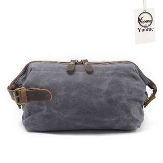 Dopp Yoome Retro Canvas Travel Kit Clutch Toiletry Bag Shaving Leather Bag for Men Women