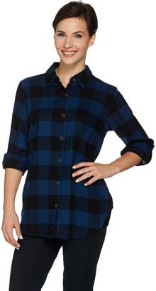 Buffalo David Bitton Joan Rivers Classics Collection Joan Rivers Check Shirt with Faux Leather Detail