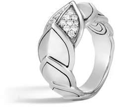 John Hardy Legends Naga 11.5mm Diamond Scale Ring, Size 6