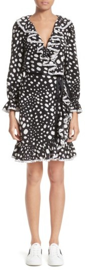Marc Jacobs Women's Marc Jacobs Polka Dot Ruffle Silk Wrap Dress
