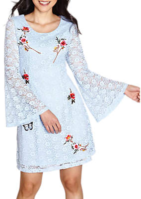 Yumi Floral Patches Dress, Pale Blue