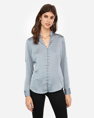 Express Slim Ruffle Covered Button Portofino Shirt