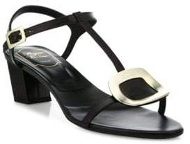 Roger Vivier Chips Leather T-Strap Sandals