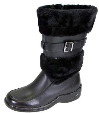 Peerage PEERAGE Tina Women Wide Width Wide Calf Winter Leather Dress Boots BLACK 9
