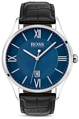 HUGO BOSS BOSS HUGO by Governor Black Croc-Embossed Leather Watch, 44mm