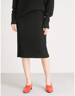 Victoria Beckham Victoria Ribbed wool midi skirt