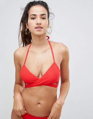 New Look Rib Wrap Bikini Top