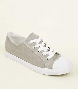 New Look Grey Corduroy Lace Up Trainers