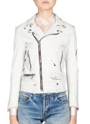 Saint LaurentSaint Laurent Paint-Splatter Leather Moto Jacket