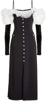 Alessandra Rich Off-Shoulder Dress with Velvet Gloves