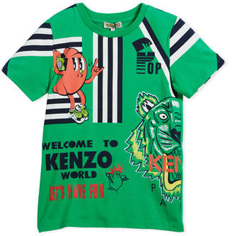 Kenzo Multi-Food Icon Tiger Striped T-Shirt, Green, Size 8-12