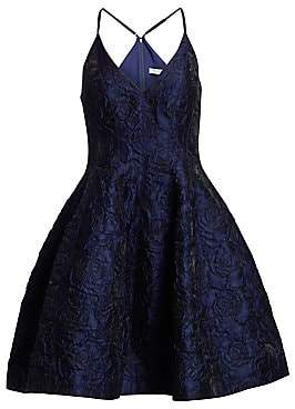 Halston Women's Sleeveless V-Neck Floral Jacquard Tulip Dress