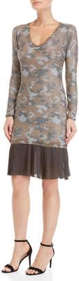 Gaudi' Gaudi Lurex Camo Pleated Hem Knit Dress