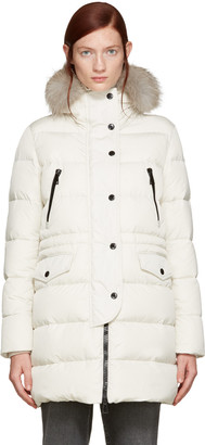 Moncler Ivory Fur & Down Fragonette Coat $1,995 thestylecure.com