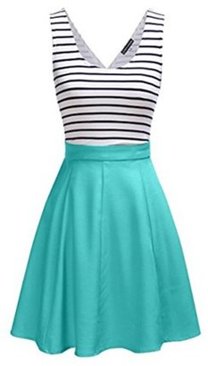 GlowSol Women's Stripe Mini Sleeveless Dress Back Open A-line Casual Dress Green Size:XL