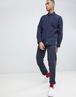 Dickies 873 striped work pant chino in navy