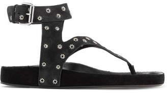 Isabel Marant Elwina Eyelet-embellished Suede Sandals - Black