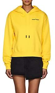 Off-White Women's Logo-Embroidered Cotton Crop Hoodie - Yellow