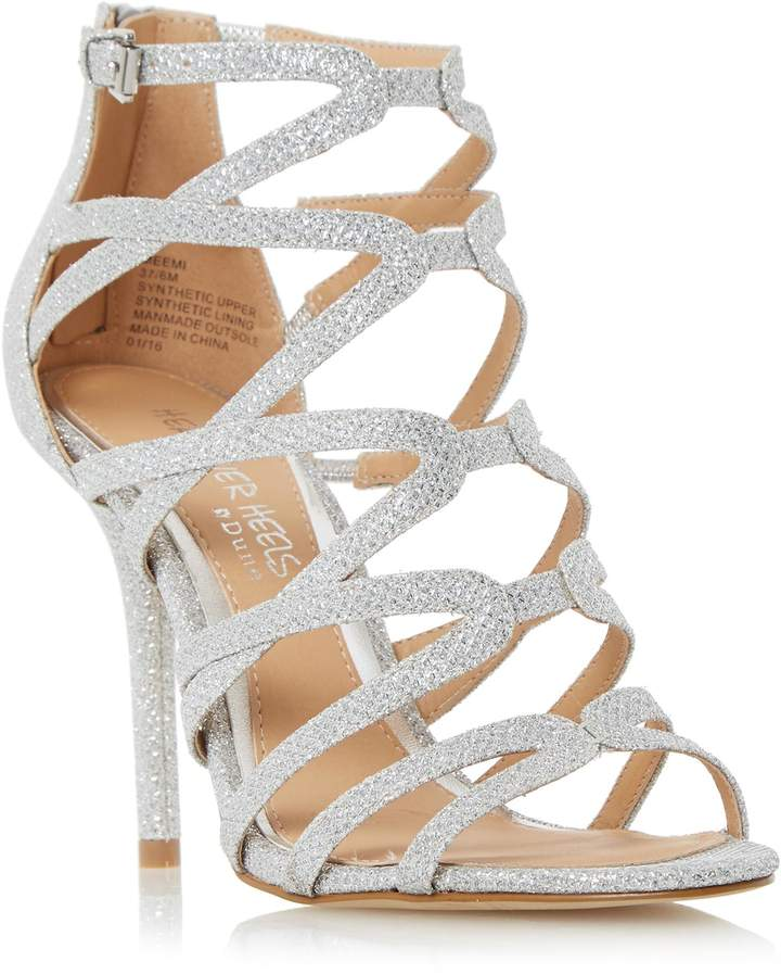 Silver Strappy Heels - ShopStyle Australia