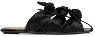Capri Bow-embellished Satin And Leather Slippers - Black