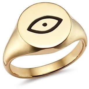 SUEL 14K Yellow Gold Evil Eye Pinky Signet Ring