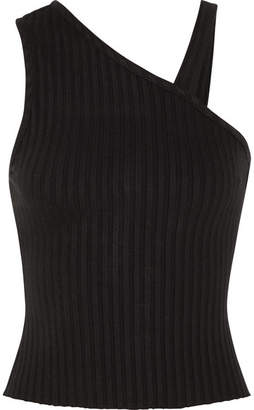 The Range - One-shoulder Ribbed Stretch-jersey Top - Black