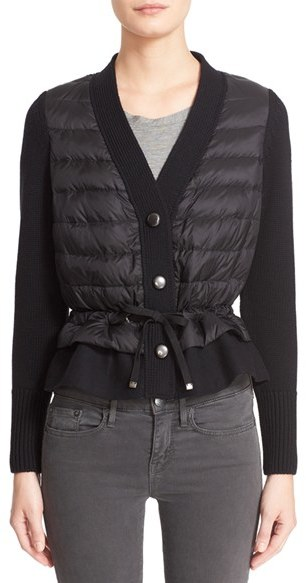 Moncler Women's Moncler Quilted Down Front Wool Cardigan
