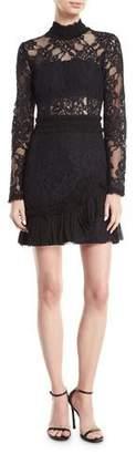 Alexis Wilhemina Mock-Neck Long-Sleeve Lace Mini Dress