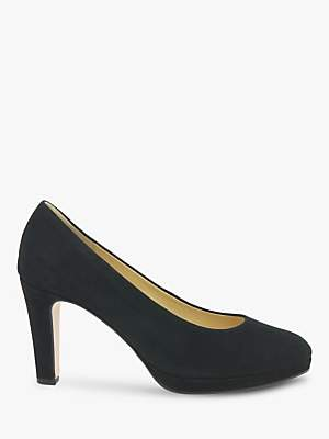 Gabor Splendid Block Heeled Court Shoes, Black