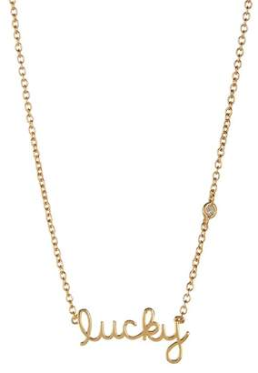 Sydney Evan Syd by 14K Yellow Gold Plated Sterling Silver Diamond 'Lucky' Pendant Necklace - 0.015 ctw