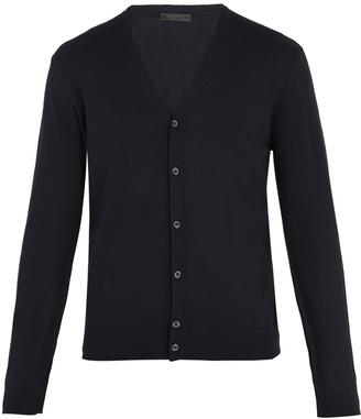 V-neck fine-knit wool cardigan