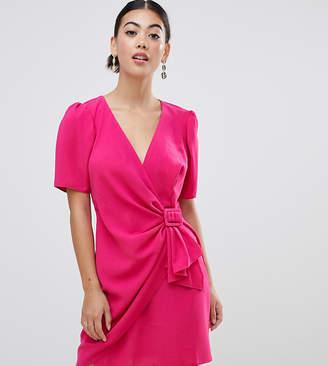 Asos DESIGN Petite mini wrap dress with belt