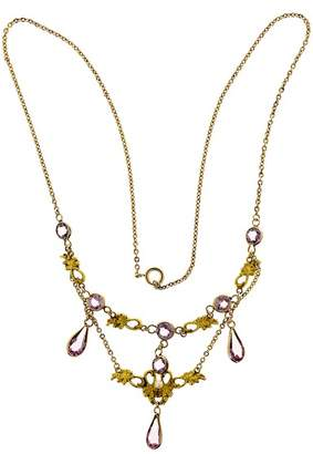 14K Yellow Gold with 4.00ct Pear, 2.40ct Round Amethyst & Pearl Vintage Pendant Necklace