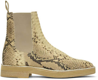 Yeezy Beige Faux-Python Chelsea Boots