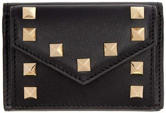 Valentino Black Garavani Small Rockstud Trifold Wallet