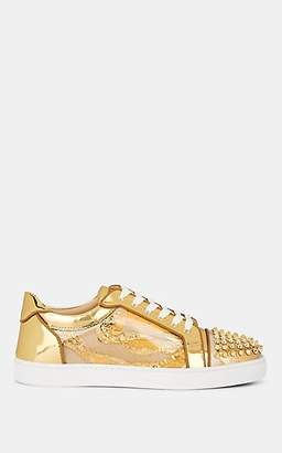 Christian Louboutin Men's Seavaste Spiked Leather Sneakers - Gold