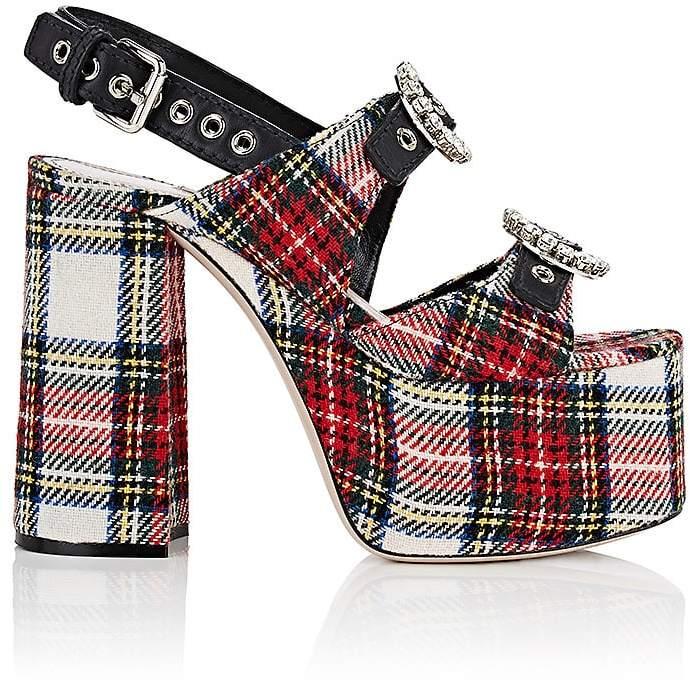 Miu Miu Women's Plaid Flannel & Leather Platform Sandals