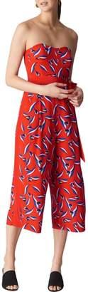 Whistles Lyza Tulip Print Strapless Silk Jumpsuit