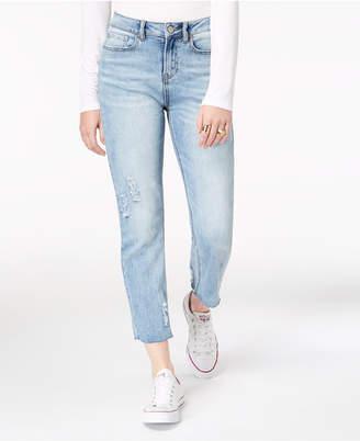 Indigo Rein Ripped Straight-Leg Ankle Jeans