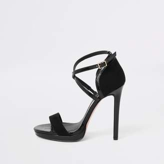 River Island Womens Black barely there platform sandals