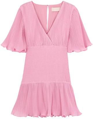 Keepsake Clarity Pink Ruffled Plisse Mini Dress