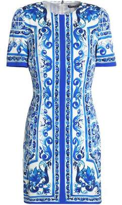 Dolce & Gabbana Satin-Trimmed Printed Silk-Blend Mini Dress