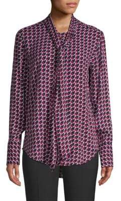 Equipment Luis Herringbone Tie-Neck Blouse