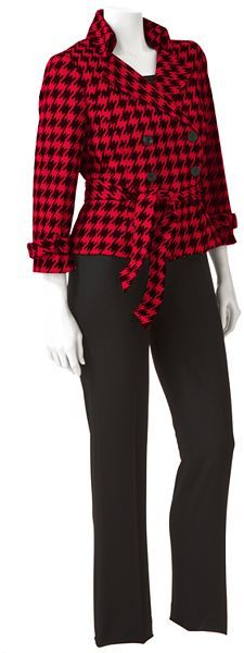 Larry Levine Signature by houndstooth suit jacket and pant set