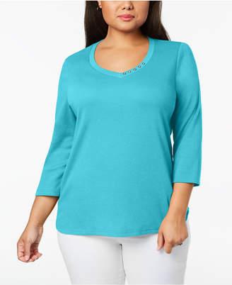 Karen Scott Plus Size Cotton Button-Trim V-Neck Top