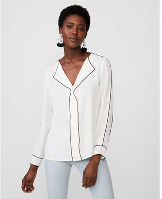Express long sleeve piped blouse