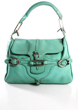 Jimmy ChooJimmy Choo Mint Green Leather Silver Tone Buckle Beaded Accent Medium Handbag